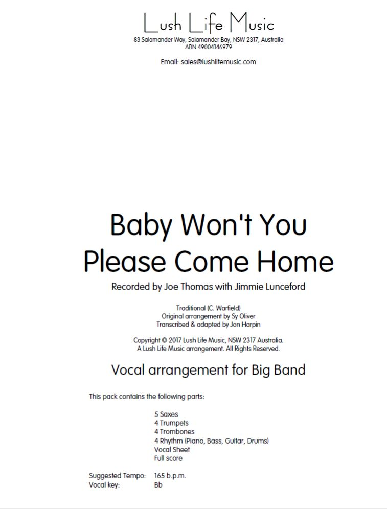 Baby Won't You Please Come Home (Vocal Solo with Jazz Ensemble - Score and  Parts)