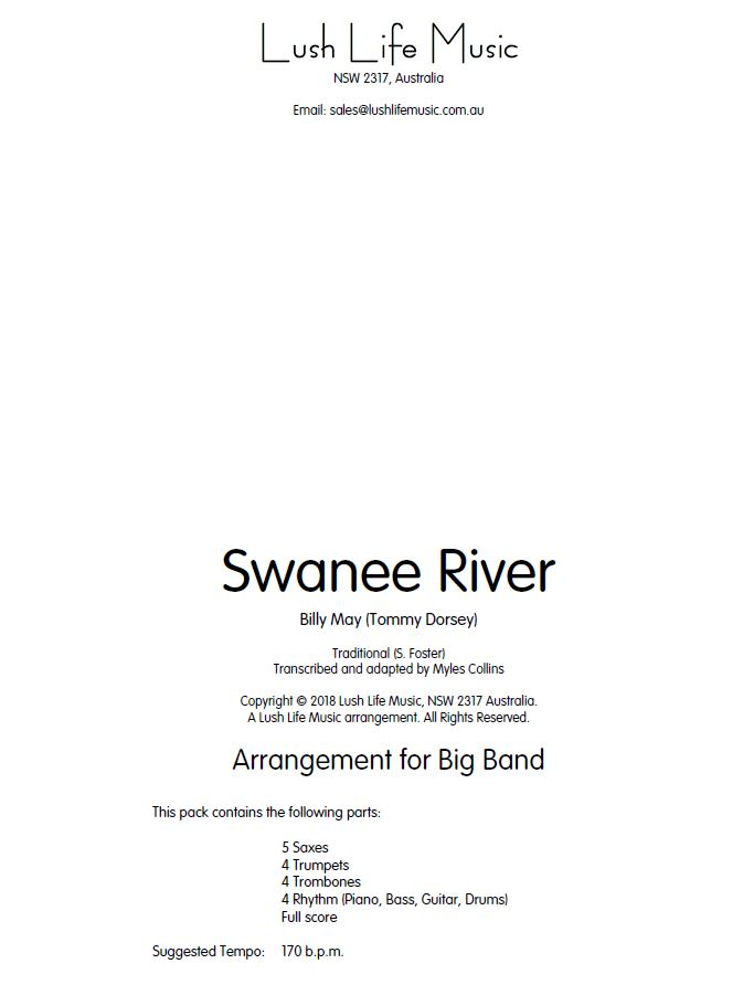 Swanee River (Big Band - Score and Parts)