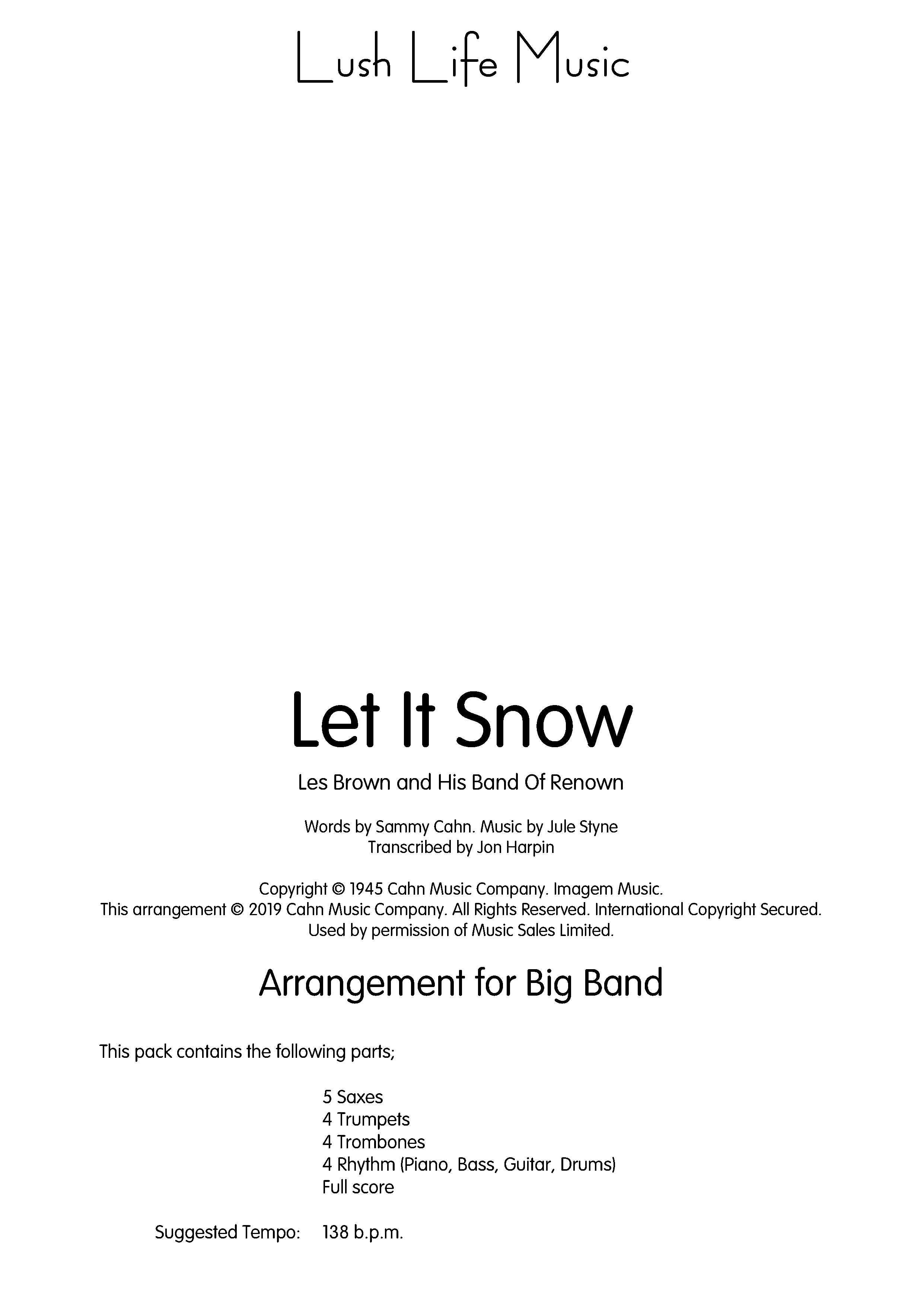 Let it Snow (Jazz Ensemble - Score and Parts)