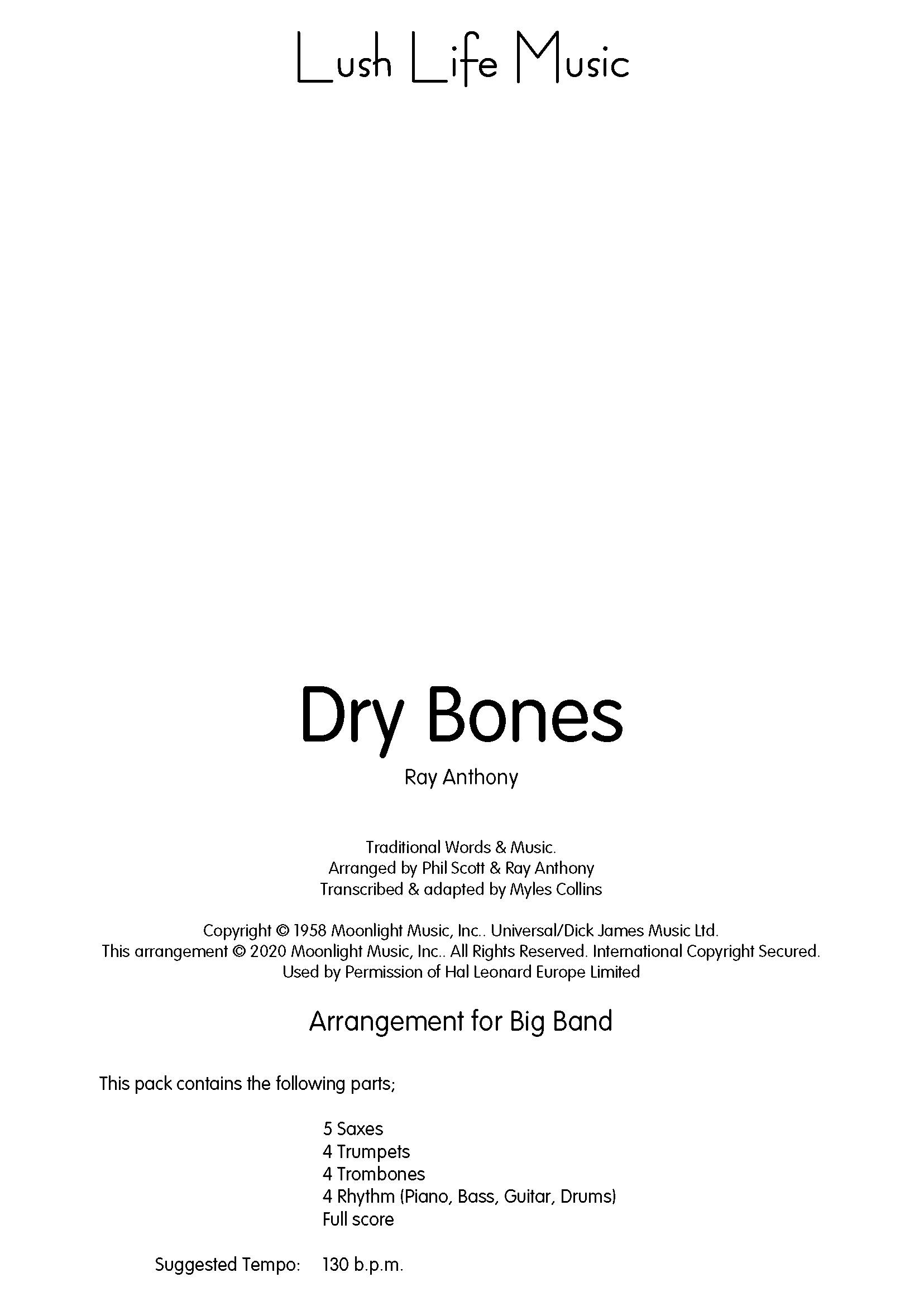 Dry Bones (Jazz Ensemble - Score and Parts)